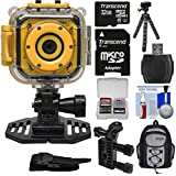 Precision Design K1 Kids HD Action Camera Camcorder (Yellow/Black) with Helmet & Handlebar Bike Mounts + 32GB Card + Backpack + Flex Tripod + Kit