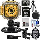 Precision Design K1 Kids HD Action Camera Camcorder (Yellow/Black) Helmet & Handlebar Bike Mounts + 32GB Card + Backpack + Flex Tripod + Kit