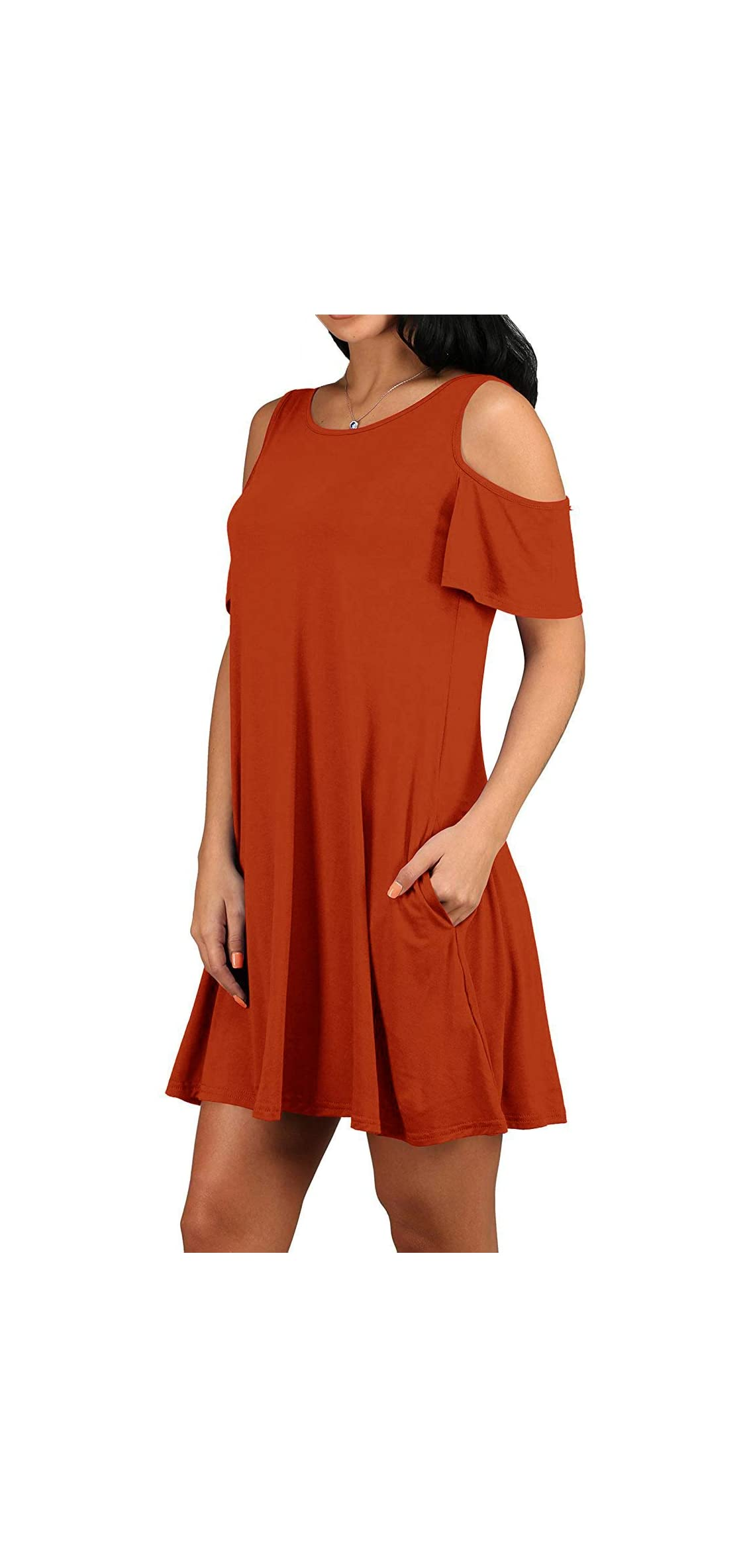 Women Casual Dress Cold Shoulder Tunic Top Dress With