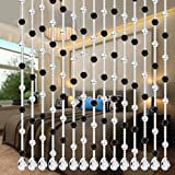 5 Strand of Cut Surface Beads Design, DIY Luxury Crystal Glass Bead Curtain Home Decor Decorations for Living Room Bedroom Windows Doorway Ornament Wedding Party Supply (E)