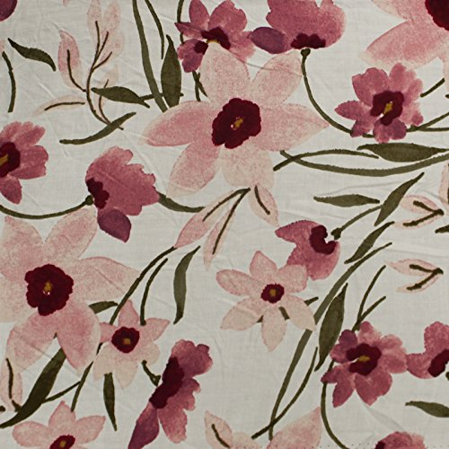Off White with Mauve Flowers on Rayon Challis Fabric