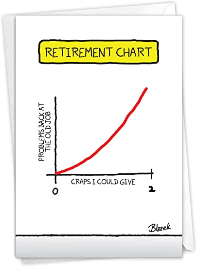NobleWorks, Retirement Chart - Funny Retirement Card with Envelope - Employee Appreciation Farewell, Retired Worker C3257RTG