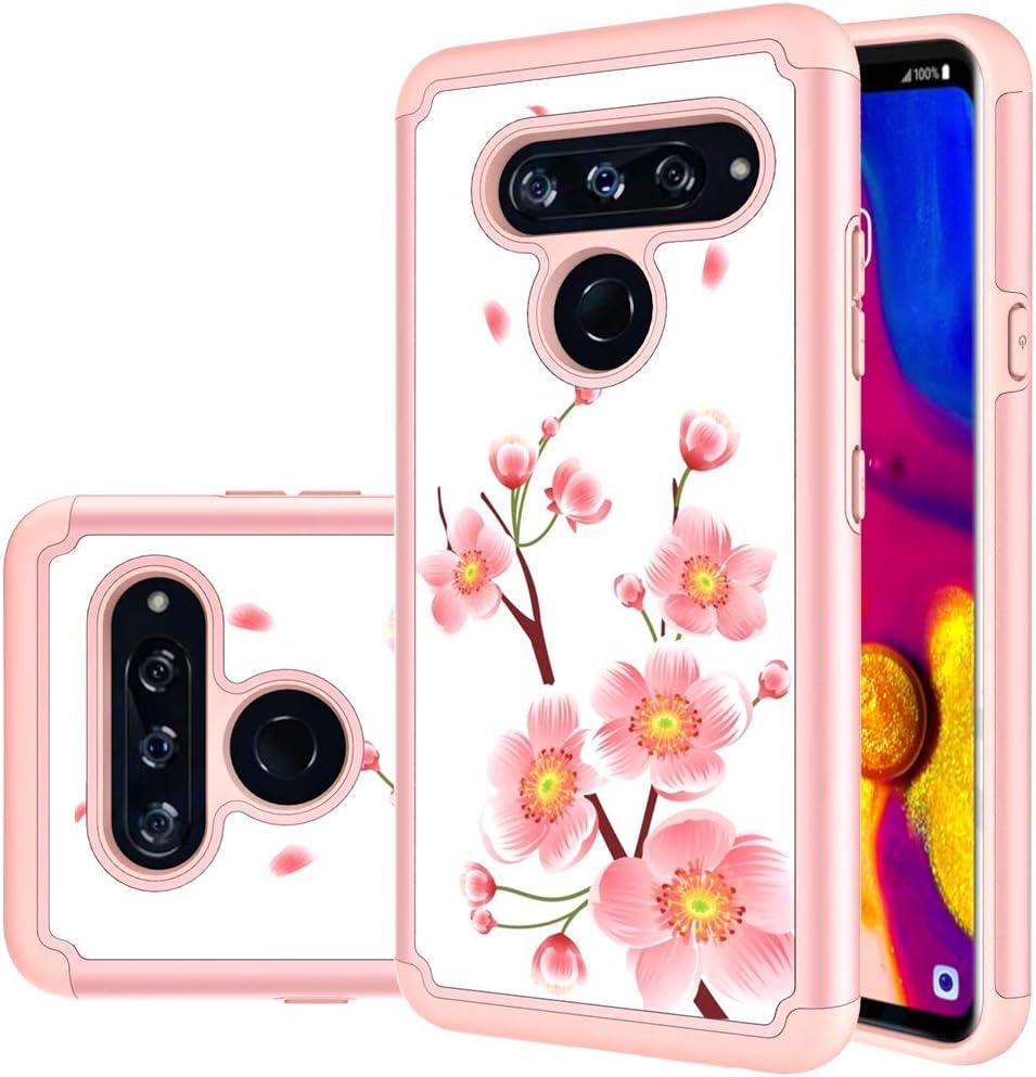 LG V40 ThinQ Case, LG V40 Case, MAIKEZI Hybrid Dual Layer TPU Plastic Armor Defender Phone Case Cover for LG V40 ThinQ/LG V40 Storm (Rose Gold Flower)