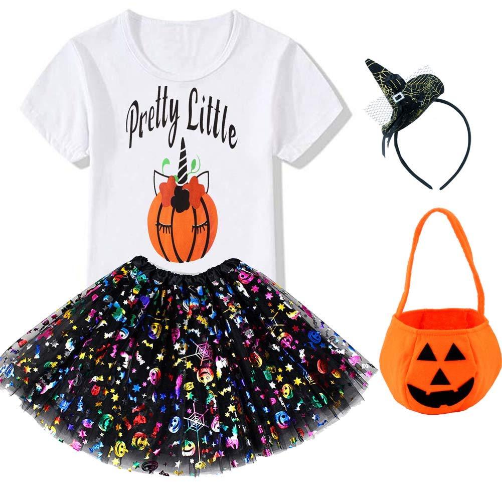 4PCS Girls Layered Tutu Skirt Outfit Sets Halloween Shirt Witch Headband Pumpkin Bag