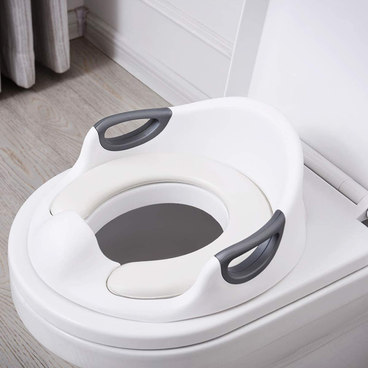 ADOVEL Asiento Inodoro para Niños, Reductor de WC para Bebé, Tapa WC con reposabrazos, respaldo, tapizado, deflector, diseño antideslizante, Ayuda para aprender a ir al baño