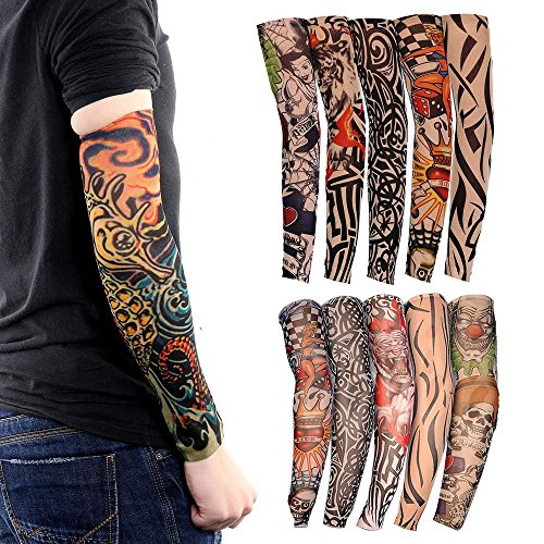 Ezyoutdoor Tattoo Arm Sleeves Cool Body Arts Fake Temporary Tattoo Cover Halloween Costume UV Sun Block Protection for Camping Hiking Exercise Sports Golf Riding Bike Outdoor(Pack of 10 Pieces)