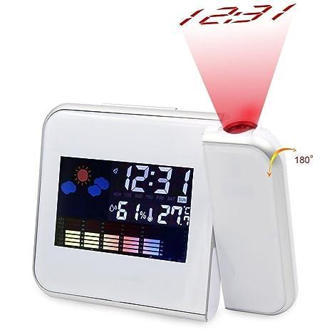 TRADE® Reloj despertador digital con proyección blanca, indicador de temperatura, higrómetro, humedad