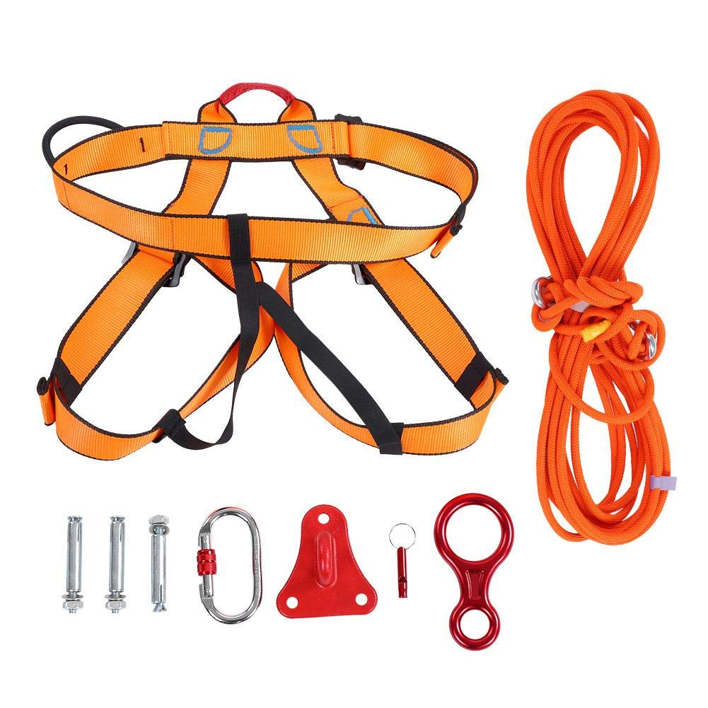 Alomejor Escape Rope Climbing Harnesses Outdoor Fire Escape Rescue Rope Safety Durable Abseiling Caving Rappelling Rope with Steel Buckle Triangular Bracket by Alomejor