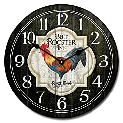 Blue Rooster Inn Wall Clock, Available in 8 sizes, Most Sizes Ship 2 - 3 days, Whisper Quiet.