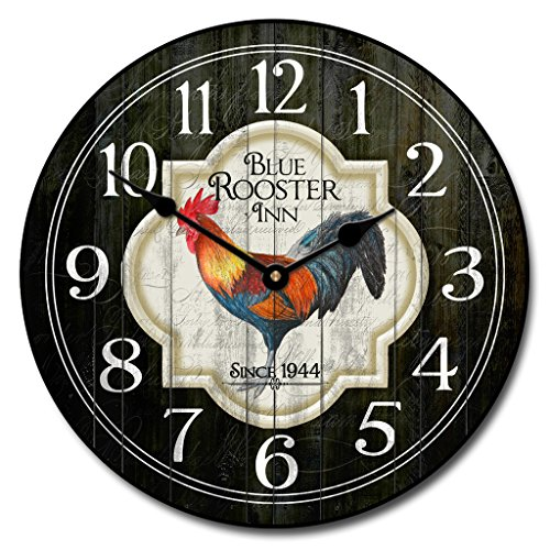 Blue Rooster Inn Wall Clock, Available in 8 Sizes, Most Sizes Ship 2-3 Days, Whisper Quiet.