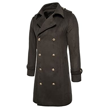 3d47f558e21d6 YUNCLOS Men s Trench Coat Long Wool Blend Slim Fit Jacket Winter Double  Breasted Overcoat at Amazon Men s Clothing store