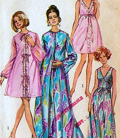 Simplicity 9073 Vintage 1970 Misses' Peignoir and Nightgown Sewing Pattern, Two Lengths, Check Listing for Size (Peignoir Vintage)