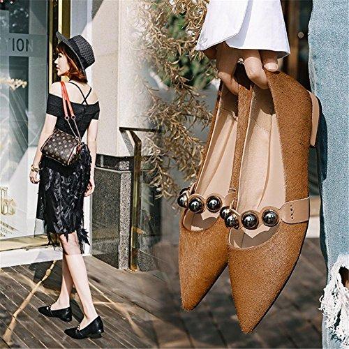 Doigt Pied EUR36UK354 Femmes Appartements Unique Flneurs Pointu Travail Décontractée Confort Glisser NVXIE Intelligent de Chaussures sur BROWN nv87dqwnaT