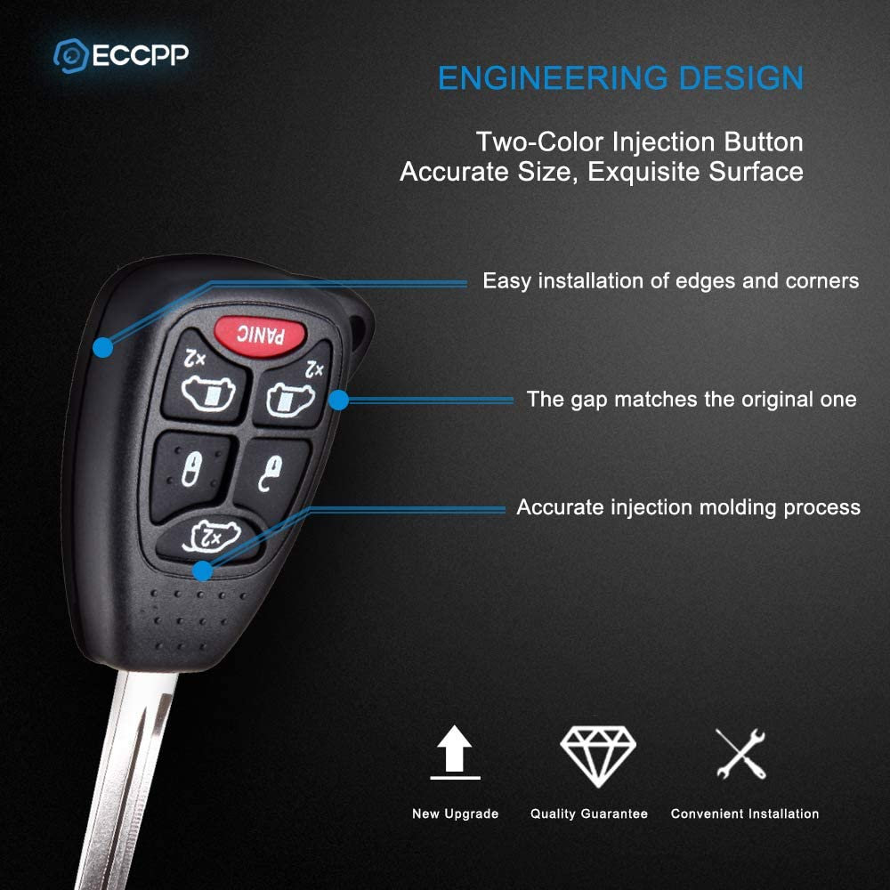 ECCPP Replacement fit for Uncut 315MHz Keyless Entry Remote Key Fob 2004 2005 2006 2007 Chrysler Town /& Country//Dodge Grand Caravan//Dodge Caravan M3N5WY72XX Pack of 2