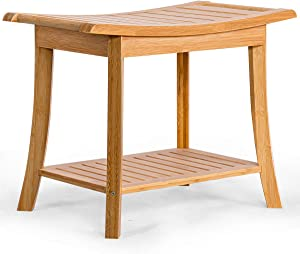 """Giantex Bamboo Storage Shelf, Shower Spa Chair Seat Bench Organizer Stool for Outdoor and Indoor (24"""" x 13"""" x 18""""), Natural"""