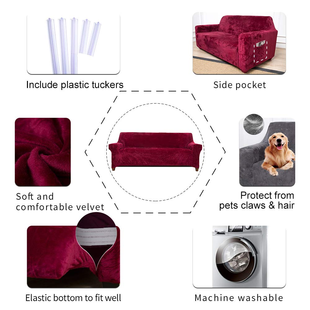 ACOMOPACK Velvet Sofa Cover Stretch Couch Cover for 3 Cushion Couch Cover Sofa Slipcover with Plastic Tuckers and Side Pocket for Living Room Furniture Protector for Dogs(Sofa, Wine red)