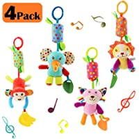 Baby Hanging Rattles Toys, Newborn Crib Toys Car Seat Stroller Toys for Infant, Colorful Animal Bell Soft Baby Sensory Rattles Toys with Teether for Babies Boys and Girls 3 6 9 to 12 Months(4 Pack)