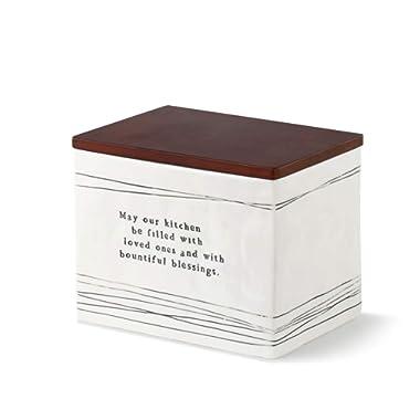 DEMDACO May Our Kitchen Black Stripe 7 x 5 Ceramic Stoneware Wood Decorative Recipe Box