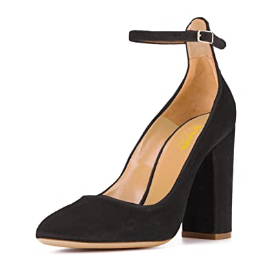 dcb0d685f41 XYD Vintage Women Chunky Heel Velvet Pumps Closed Toe Ankle Strap Dress  Shoes for Prom Size