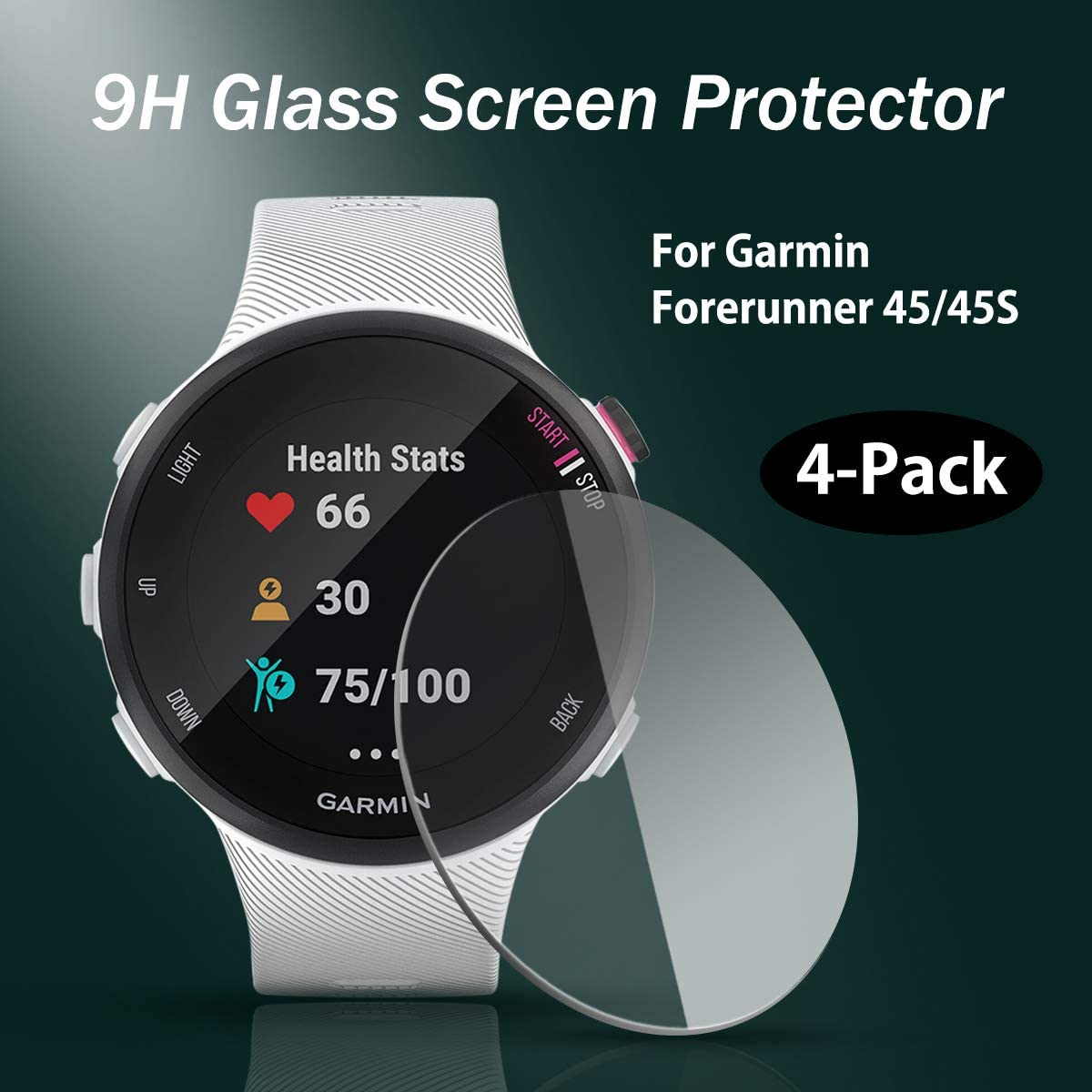 4Pack for Garmin Forerunner 45/&45S Tempered Glass Screen Protector Anti-Scratch 2.5D 9H Hardness