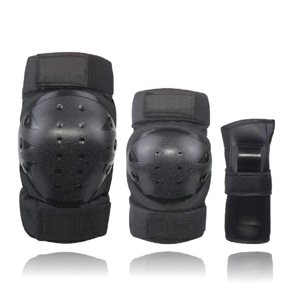 Knee Pads for Kids/Youth/Adult Elbows Pads Wrist Guards 3 in 1 Protective Gear Set for Skateboarding,Roller Skating,Rollerblading,Snowboarding,Cycling and Multi Sports(S/M/L) (Black, Large)