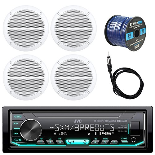 (New JVC KD-X35MBS Bluetooth Marine Car Receiver, 4 x Enrock Boat 6.5 Inch Weather Resistant Speakers, Enrock Antenna - 40