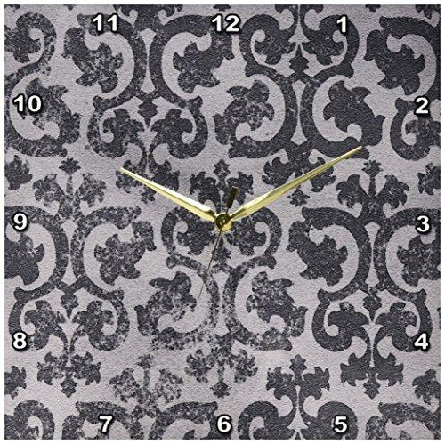 3dRose DPP_151434_2 Grunge Gray Damask Silver Grey Faded Antique Vintage Swirls Wallpaper Fancy Swirling Pattern Wall Clock, 13 by (Swirl Vintage Wallpaper)