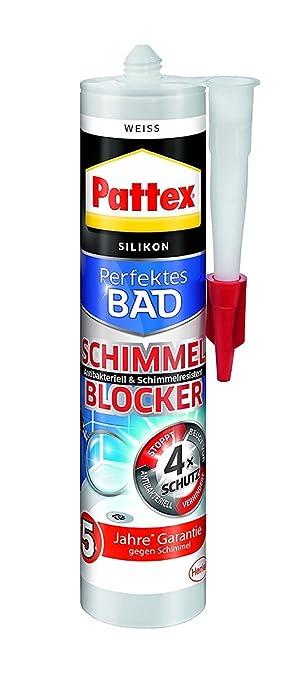 Pattex Perfektes Bad Schimmel Blocker Silikon, Sanitärsilikon mit 4-fach-Schutz gegen Schimmel, Dichtmasse für 5 Jahre garant
