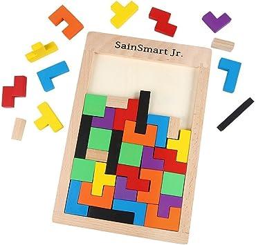 SainSmart Jr. Puzle de madera (40 unidades), diseño de tetris , color/modelo surtido: Amazon.es: Juguetes y juegos