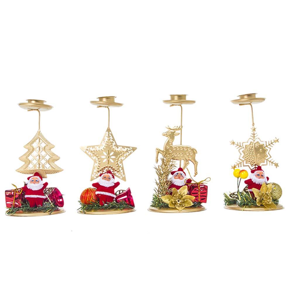 Toyvian 4pcs bougeoirs de noël ornement de noël décoration de fête chandelier (arbre de noël + wapiti + neige + étoile à cinq branches)