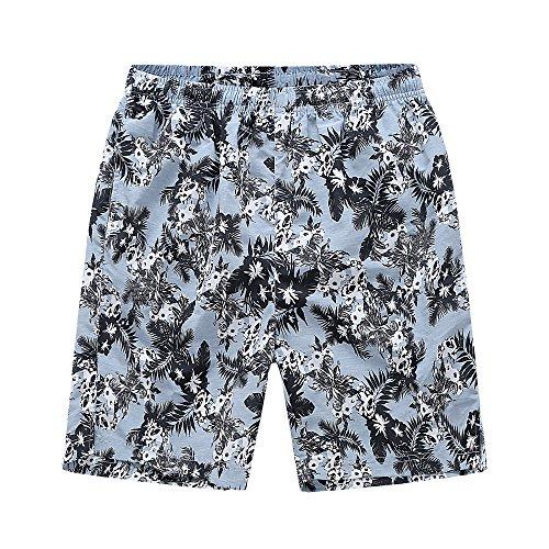64f21a05e53a8 FAFNIR Men Swim Trunk Elastic Waist Printed Board Shorts Mesh Lined Leaves  Blue Size M. Fulfilled by Amazon