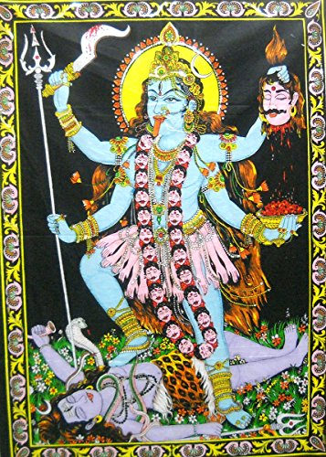 - Goddess Kali Hindu Goddess sequin Batik Cotton Wall Tapestry 40