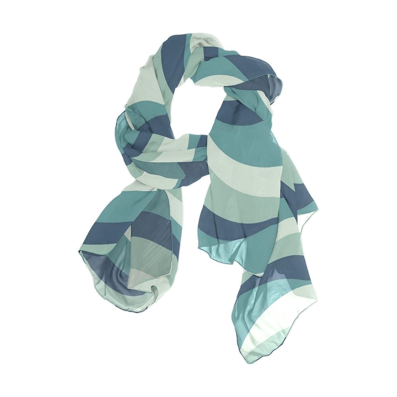 Senya Women's Fashion Large Long Sheer Silk Scarf Shawl Wrap, Sea Waves Pattern