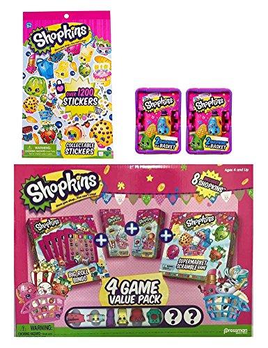 Shopkins Activity Bundle: 4 Game Value Pack with Shopkins Figures, Sticker Book, & 2 Season 2 Blind Baskets (Shopkins Big Basket compare prices)