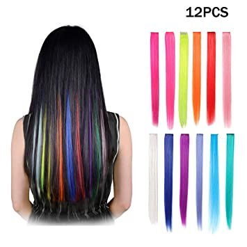 Amazon.com : B.FY 23 Inch Colored Clip in Hair Extensions ...