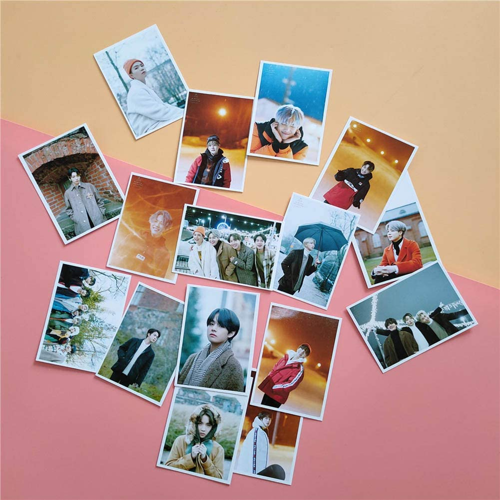 Alcompluser Lot de 16 cartes photo Kpop BTS Photocard SUGA JIN JIMIN V JUNGKOOK J-HOPE RM 2020 Winter Package Preview Cuts Lomo Cards pour BTS ARMY