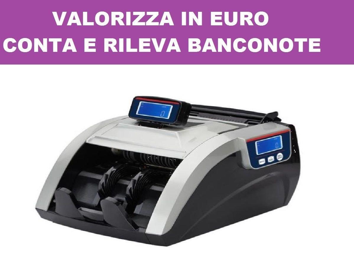 RILEVA VALORIZZATORE CONTA BANCONOTE VERIFICA SOLDI FALSI TOTALE PEZZI EURO not-empty