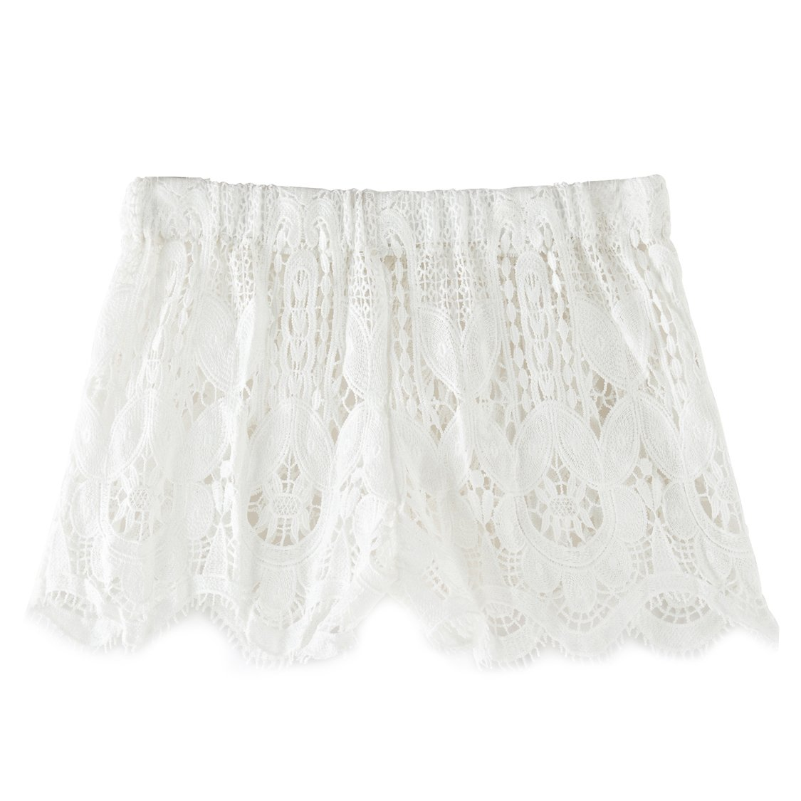 zeraca Women's Crochet Lace Beach Board Shorts (XS2, White)
