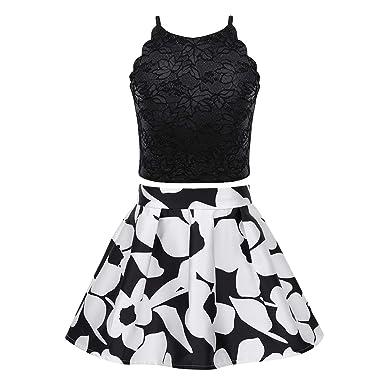 ranrann Camiseta Sin Mangas Encaje + Falda Estampado de Flores ...