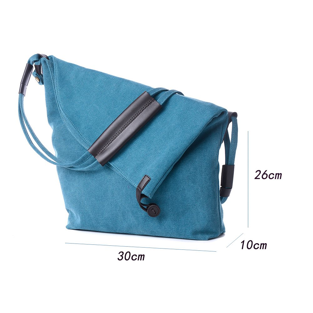 Amazon.com  ENKNIGHT Functional Lady s Canvas Large Shoulder Bags Crossbody  Shoulder Duffel Messenger Bag for Office School Work Travel and Shopping  Blue  ... 8645ec9e21dc0