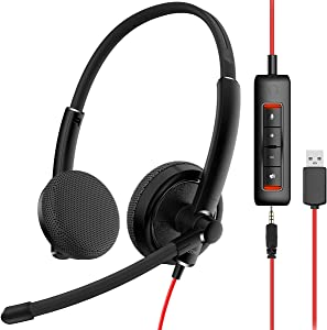 NUBWO HW01 USB Headphone/ 3.5mm Computer Headset with Microphone Noise Cancelling, Lightweight PC Headset Wired Headphones, Business Headset, Office Computer Headsets for Cell Phone
