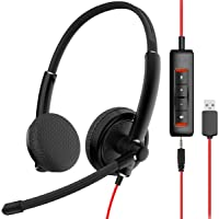 NUBWO HW01 USB Headphone/ 3.5mm Computer Headset with Microphone Noise Cancelling, Lightweight PC Headset Wired…