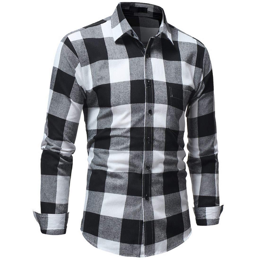 ZAWAPEMIA Mens Slim Fit Button Down Long Sleeve Plaid Shirts