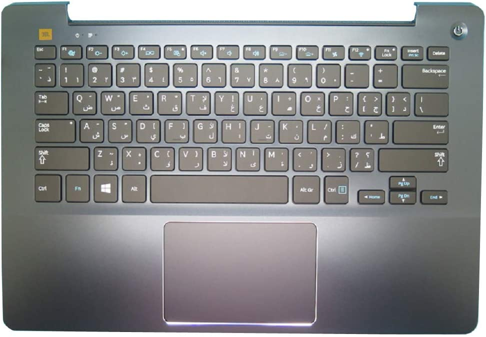 Laptop PalmRest/&Keyboard for Samsung NP740U3E NP730U3E 740U3E 730U3E Arabia AR BA75-04621D with Touchpad Backlit Blue