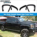 Magnus OE Style ABS Black Fender Flares   4pcs   For 2007-2013 Chevy Silverado standard and long bed