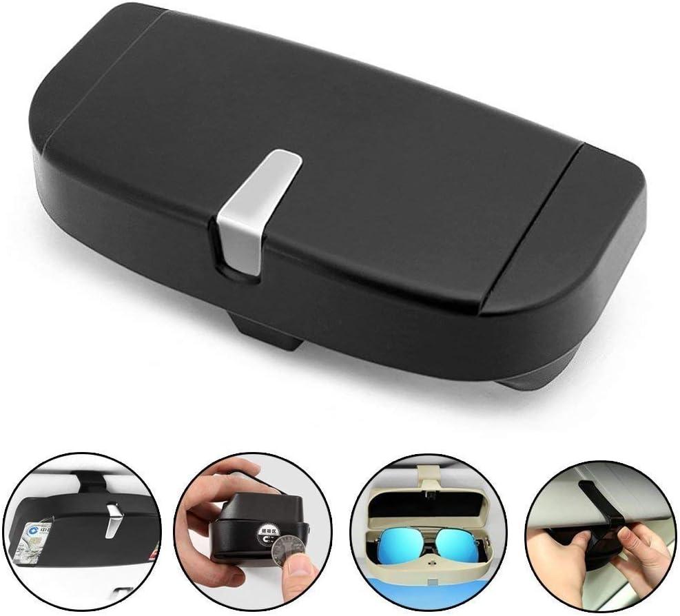 BestTeam Car Sun Visor Glasses Box, Universal Car Sunglasses Holder Case Storage Box Eye Glasses Box with Card Holder for Sun Visor (Black)