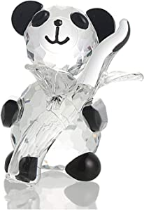 H&D HYALINE & DORA Cute Crystal Glass Panda Figurine with Bamboo for Home Office Decor