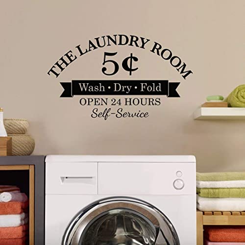Amazon Laundry Room Decal Wash Dry Fold 5 Cents Open 24