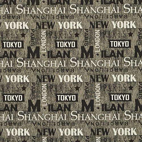 J9600L Black And Grey Major International Cities And States Text Woven Decorative Novelty Upholstery Fabric By The Yard | New York Milan Tokyo Paris Barcelona London And Shanghai (Costumes Designers New York)