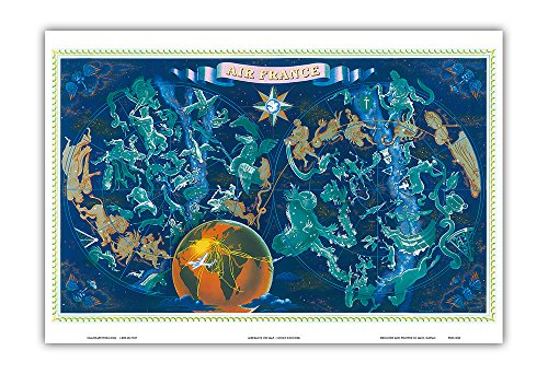 World Route Map - France - Constellations Zodiac Signs - Greek Mythogical Figures Planisphere - Vintage Airline Travel Poster by Lucien Boucher c.1950 - Master Art Print - 13in x 19in (Map Tour De France)